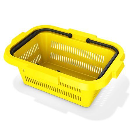 empty basket: 3d yellow empty shopping basket on white background