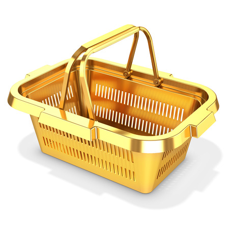cart button: 3d golden empty shopping basket on white background Stock Photo