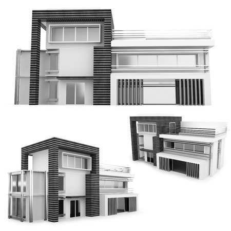 house render: 3d monochrome modern house collection on white background Stock Photo