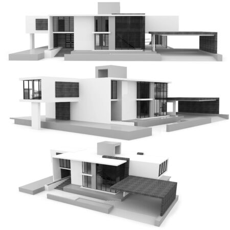 modern house exterior: 3d monochrome modern house collection on white background Stock Photo