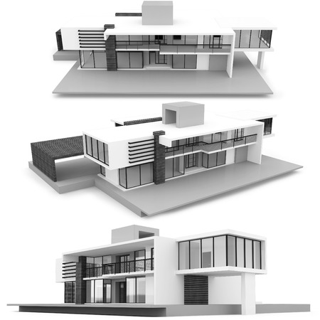 model houses: 3d monochrome modern house on white background Stock Photo