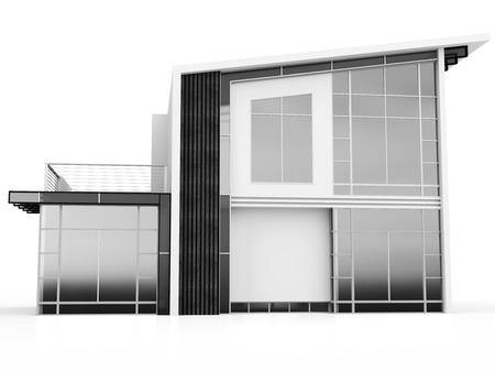 luxury house exterior: 3d monochrome modern house on white background Stock Photo