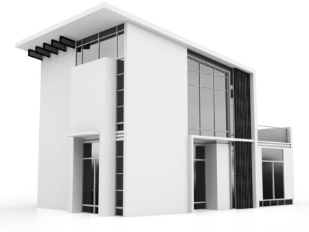 garage on house: 3d monochrome modern house on white background Stock Photo