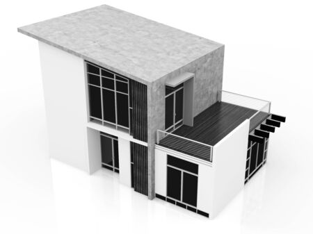 modern house exterior: 3d monochrome modern house on white background Stock Photo