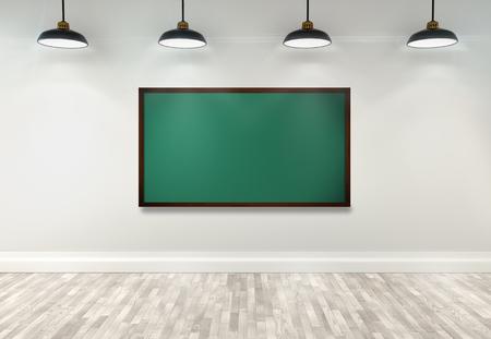 salon de clases: Pizarra en blanco 3d en el aula con la l�mpara del techo Foto de archivo