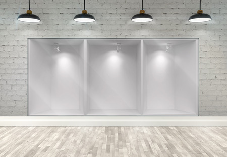 forepart: 3d empty storefront of shop with ceiling lamps