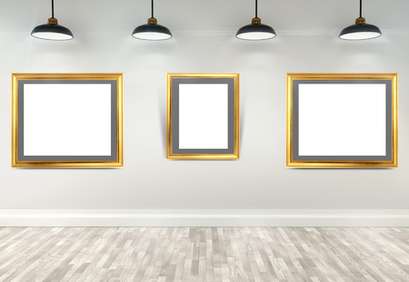 gallery interior: 3d gallery interior with empty frames on wall