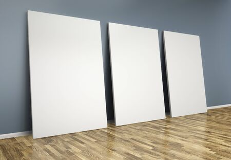 concrete commercial block: 3d  room with blank posters on wall Stock Photo