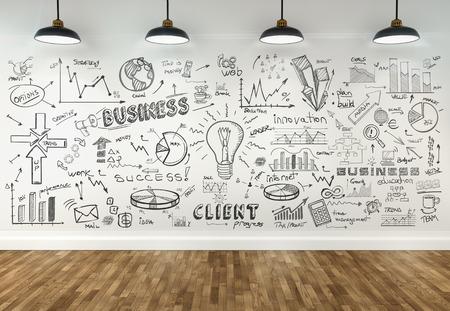 3D-tekening business concept op de muur in de kamer