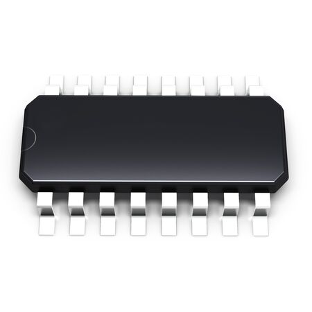 chipset: 3D detailed blank microchip on white background