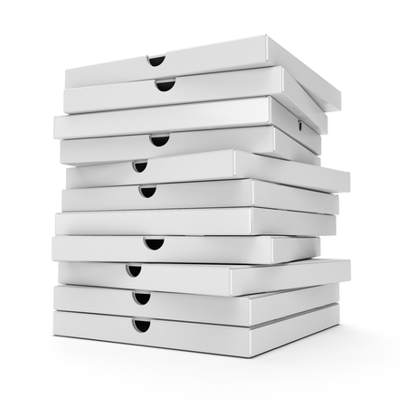 packaged: 3d stack of pizza boxes on white background Stock Photo