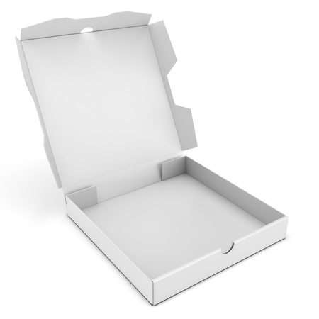 packaged: 3d open pizza box on white background
