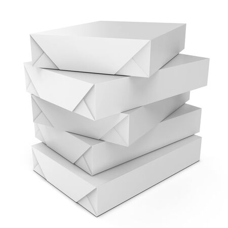 a4: 3d stack of packs A4 white paper on white background