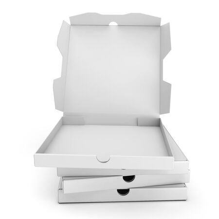 packaged: 3d packing pizza boxes on white background