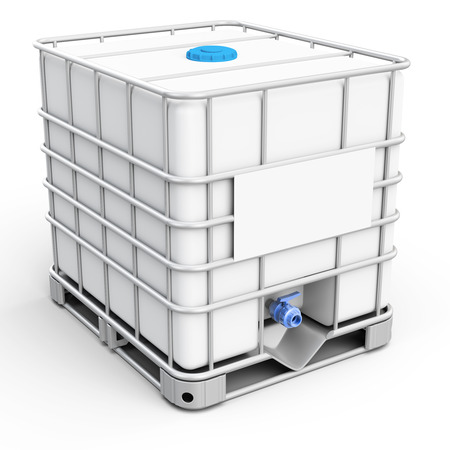 drums: 3d water tank cube on white background Stock Photo