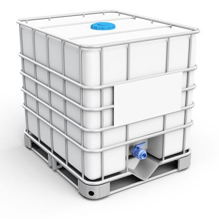 3d watertank kubus op een witte achtergrond
