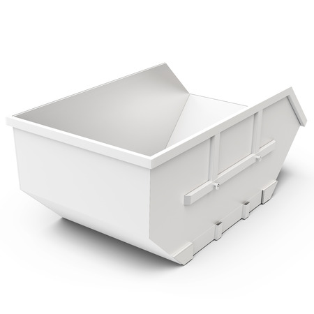 environmental sanitation: 3d empty waste container on white background Stock Photo
