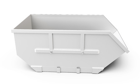 filth: 3d empty waste container on white background Stock Photo