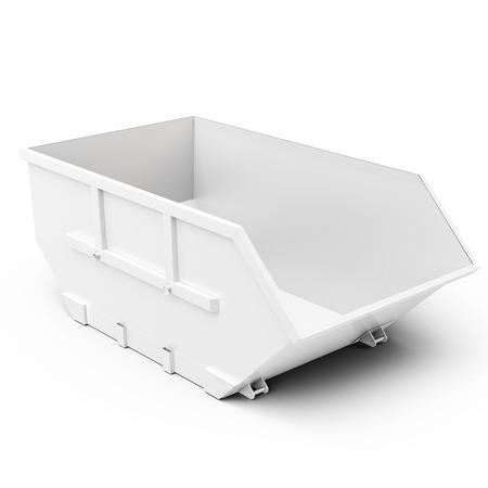 3d lege afvalcontainer op een witte achtergrond