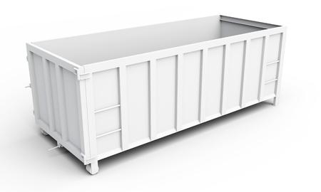 白い背景の上の 3 d の空の廃棄物コンテナー