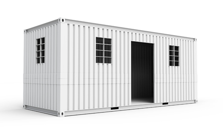 moveable: 3d  detailed container house on white background