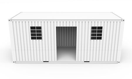 modular home: 3d  detailed container house on white background