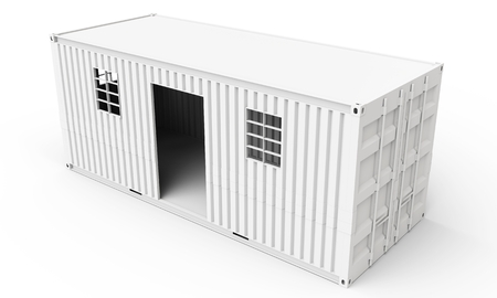 housing: 3d  detailed container house on white background