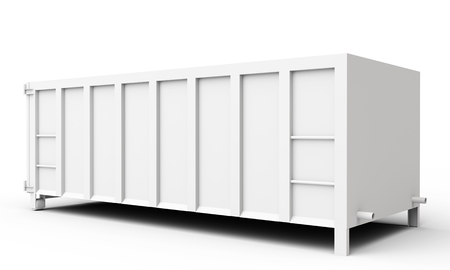 3d empty waste container on white background Banco de Imagens