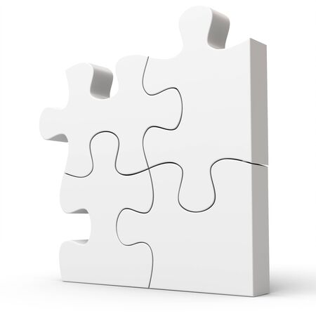 jig: 3d Jigsaw Puzzle Concept on white background Stock Photo