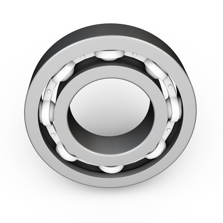 axle: 3d metal ball bearing on white background