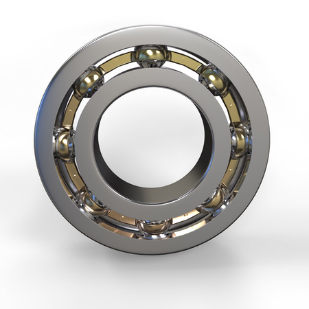 bearing: 3d metal ball bearing on white background