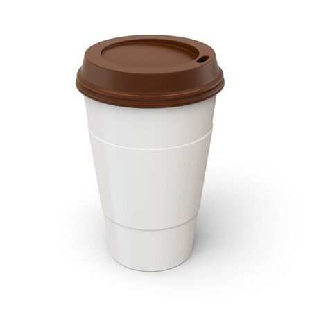 polystyrene: 3d Coffee Cup with brown lid on white background