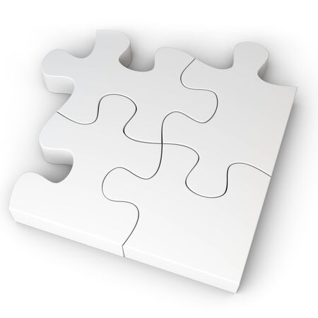 jig saw: 3d Jigsaw Puzzle Concept on white background Stock Photo
