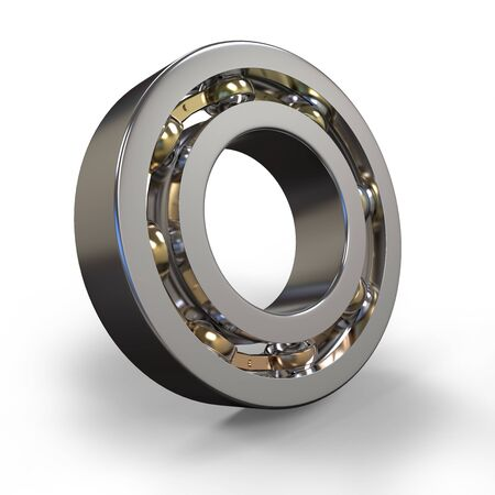 rotating parts: 3d metal ball bearing on white background