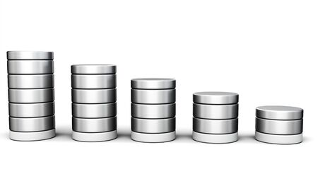 cylinders: 3d chart of cylinders on a white background