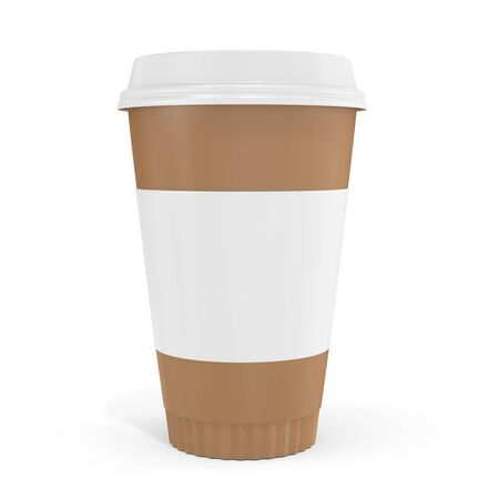 polystyrene: 3d blank brown coffee cup  on white background
