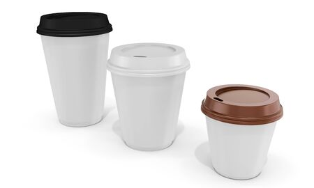 polystyrene: 3d blank coffee cups on white background