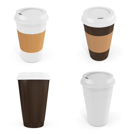 blank label: 3d Coffee Cups with blank label on white background