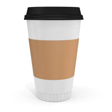 polystyrene: 3d Coffee Cup with blank label on white background