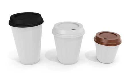 carton: 3d tazas de café en blanco sobre fondo blanco