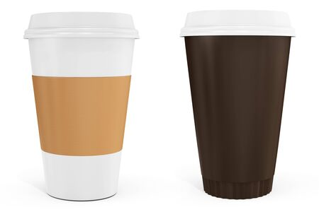 cups of coffee: 3d Coffee Cups with blank label on white background