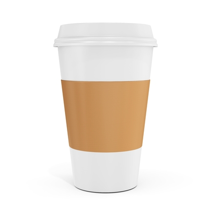 cappuccino: 3d Coffee Cup with blank label on white background
