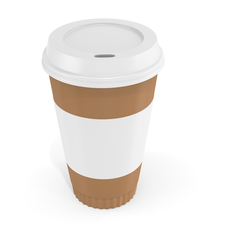 blank label: 3d Coffee Cup with blank label on white background