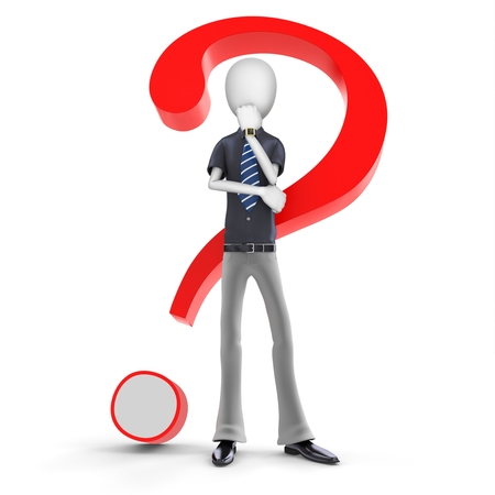 interrogative: 3d man businessman with a red question mark on white background