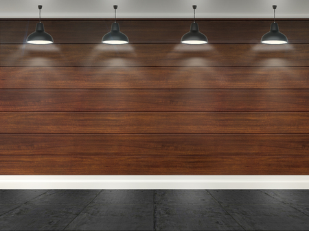 ceiling lamps: 3d wooden  room with ceiling lamps and concrete floor Stock Photo