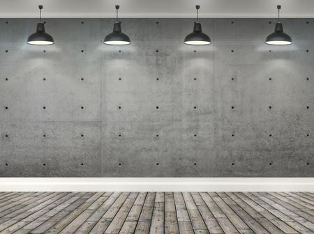 3d grijze betonnen muur kamer met plafondlamp