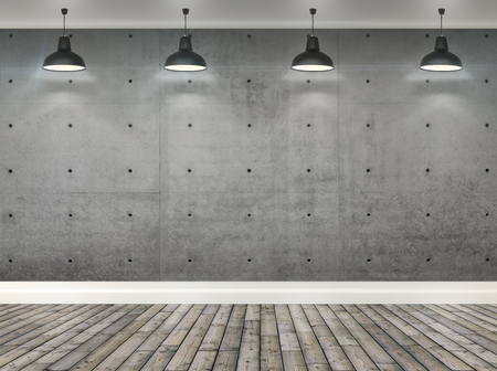 3d gray concrete wall  room with ceiling lamp