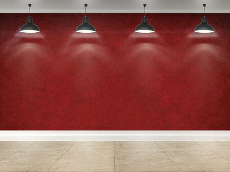 RED WALLPAPER: 3d red wallpaper  room with ceiling lamp