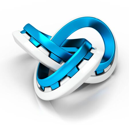 reverberation: 3d abstract infinity knot on white background Stock Photo