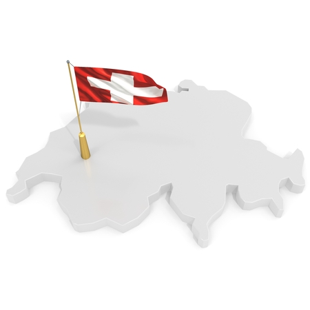 switzerland flag: 3d flag pole of the country with borders form on white